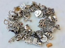 43 Vintage Sterling Silver Charm Bracelet Mid-Century Theme Mechanical