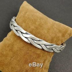 46G 925 Sterling Silver Braided Twist Rope Bangle Cuff Bracelet Men Adjustable