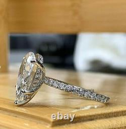 4CT White Pear Cut Moissanite Halo Engagement Wedding Ring 925 Sterling Silver
