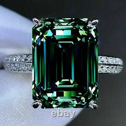 4+Ct Deep Blue Emerald Moissanite Diamond Engagement Ring 925 Sterling Silver
