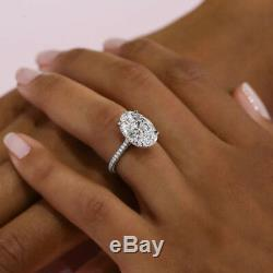 4 Ct Near White Oval Cut Moissanite Engagement Wedding Ring 925 Sterling Silver
