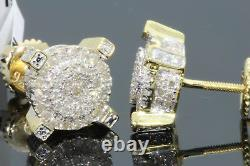51 CARAT STERLING SILVER MENS WOMENS 9 mm 100% REAL DIAMONDS EARRINGS STUDS