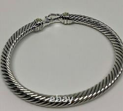 $525 David Yurman 925 Sterling Silver 5mm Cable Buckle Bracelet with 18K Gold