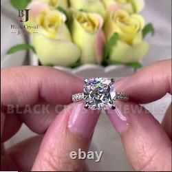 5.0 Carat Cushion Cut Lab Created Diamond Solid 925 Sterling Silver Wedding Ring