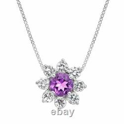 5 7/8 ct Natural Amethyst & Created White Sapphire Set in Sterling Silver