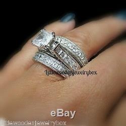 5 Carat Princess cut 925 Sterling Silver Wedding Ring Band Set Women's 5-11