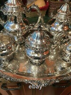 5 Pc Near Museum Quality Wallace Grande Baroque Sterling Silver Tea Set Grand