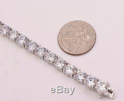5mm Diamonique CZ Round Cut Prong Set Tennis Bracelet Sterling Silver 18TCW 925