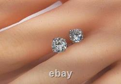 6mm Lab Created Round Diamond Solitaire Stud Earrings 925 Sterling Silver