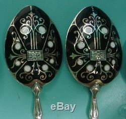 7 ART Deco Nouveau Champleve guilloche enamel sterling silver Tea spoons in box