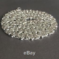 7mm 925 Sterling Silver Viking Flat Byzantine Mens Chain Necklaces 42GR 20 Inch