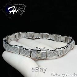 8.25men 925 Sterling Silver 8mm Icy Bling Diamond Chain Link Braceletsb10