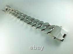 8.5 400g HEAVY CHUNKY BIKER CUBAN CURB CHAIN STERLING SILVER 925 MEN'S BRACELET