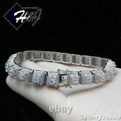 8.5men 925 Sterling Silver Bling Full Icy Diamond Chain Link Braceletsb11