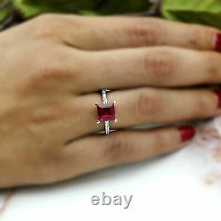 8 MM Square Red Ruby Solitaire Wedding Engagement Ring 925 Sterling Silver 2 CT