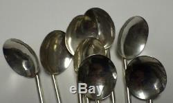 8 Sterling Silver Sipper Straw Spoons Round Bowls Taxco Mexico 7 1/4 3.5 Toz