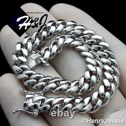 8men 925 Sterling Silver 7.5mm Plain Miami Cuban Curb Link Chain Braceletsb3