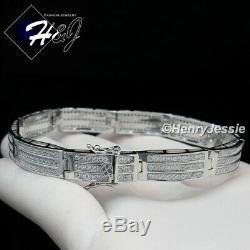 8men 925 Sterling Silver 8mm Icy Diamond Bling Chain Link Braceletsb8