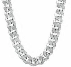 925 Solid Sterling Silver 8MM CUBAN CURB LINK CHAIN NECKLACE MENS CHAIN ITALY