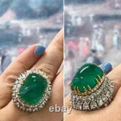 925 Sterling Silver Cabochon Emerald 30ct & Pear CZ Up & Down Style Women's Ring