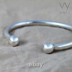 925 Sterling Silver Classic Bangle Men Women Children Cuff Bracelet VY Jewelry