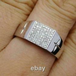 925 Sterling Silver Engagement Wedding With Diamond Men's Jewelry Band Ring
