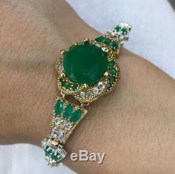 925 Sterling Silver Handmade Authentic Turkish Emerald Bracelet Bangle Cuff