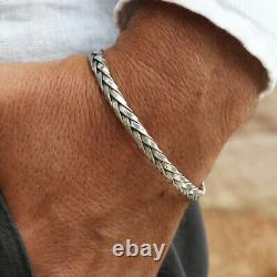 925 Sterling Silver Men Women Braided Slim Cuff Bangle Bracelet Free Big Size