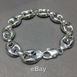 925 Sterling Silver Mens Mariner Puffed Link Chain Bracelet 9.05 Inch 24GR 14mm