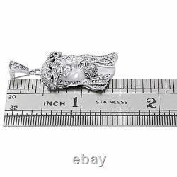 925 Sterling Silver Mens Real Diamond Mini Micro Jesus Face Pendant Charm 1.40