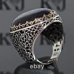 925 Sterling Silver Mens Ring Blue Aventurine Unique Turkish artisan jewelry