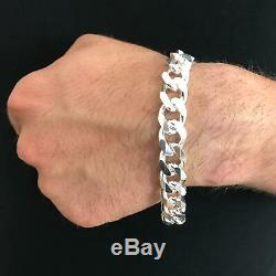 925 Sterling Silver Mens Solid Cuban Curb Link Chain Bracelet 13mm 55GR 8.6Inch