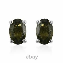 925 Sterling Silver Natural Moldavite Stud Earrings Jewelry For Women Ct 0.8