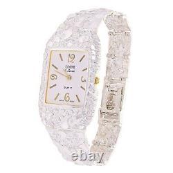 925 Sterling Silver Nugget Link Watch Bracelet Geneve 7-7.5 44 grams