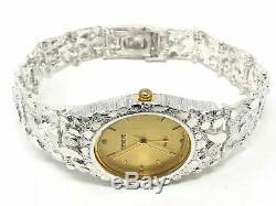 925 Sterling Silver Nugget Link Wrist Watch Geneve Diamond Round Watch 8
