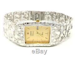 925 Sterling Silver Nugget Wrist Watch Geneve Diamond Watch 8.25 Straight Band