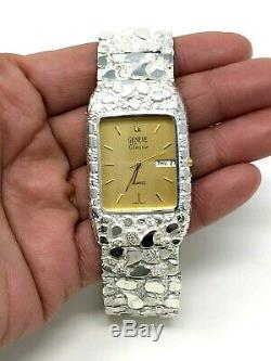 925 Sterling Silver Nugget Wrist Watch Geneve Diamond Watch 8.25 Straight Band
