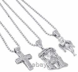 925 Sterling Silver Real Diamond Mini Pave Jesus Pendant Angel & Cross Set 1 Ct