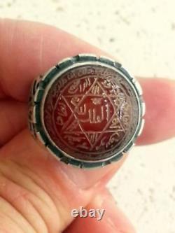925 Sterling Silver Ring Carnelian Aqeeq Unique Talisman Seal of Solomon