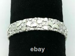 925 Sterling Silver Solid Nugget Bracelet Adjustable 8.5 12.5mm 30 grams