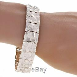 925 Sterling Silver Solid Nugget Bracelet Adjustable Link 8 15mm 34.8 grams