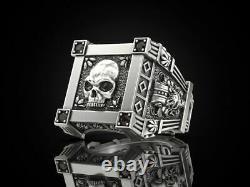 925 Sterling Silver Vampire Skull Black Diamond Gothic Men's Biker Ring Oxidized