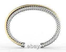 925 Sterling Silver and 18 karat gold over silver cable crossover bracelet cuff