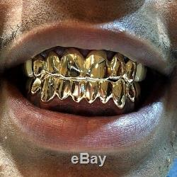 925 Sterling Silver with 18K Yellow Gold Plated Custom Real Handmade Grillz