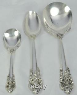 93pc Wallace Grande Baroque Pattern Sterling Silver Flatware Service No Mono