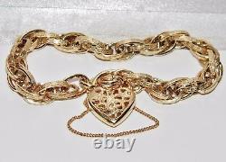 9ct Gold on Sterling Silver Ladies Fancy Link Victorian Design Bracelet