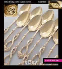ANTIQUE 1880s FRENCH ALL STERLING SILVER VERMEIL 18k GOLD COFFEE SPOONS SET 13pc