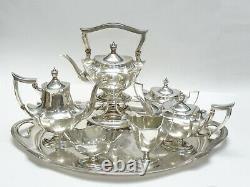 ANTIQUE 7 pcs GORHAM STERLING PLYMOUTH TEA SET w KETTLE & LARGE TRAY 178 TROY OZ