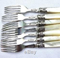 Antique 925 Sterling Silver Flatware Set Dessert Fish MOP 12 Forks 12 Knives
