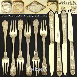 Antique French 18k Gold on Sterling Silver Vermeil 16pc Flatware Set, Caduceus